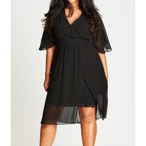 City Chic Black Chiffon Love Affair Dress $89 M 18